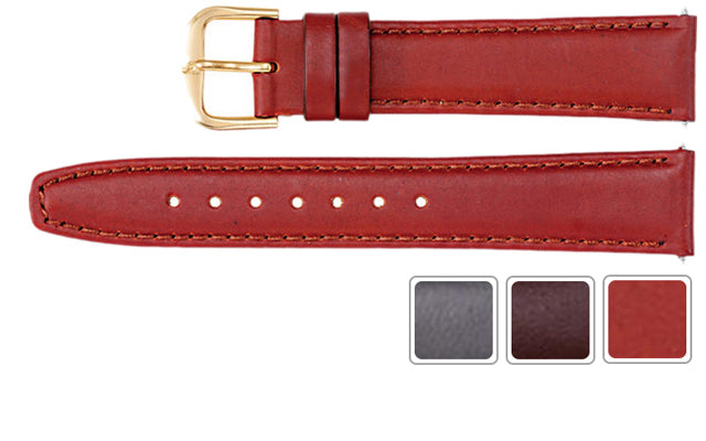 Watch Band - Leather Watch Band In Saddle Calf Leather