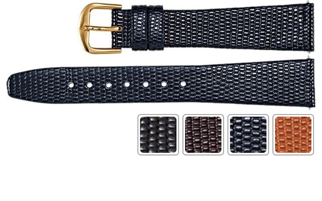 Watch Band - Leather Watch Band In Lizard Grain Leather