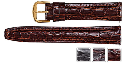 Watch Band - Leather Watch Strap Crocodile Grain Band