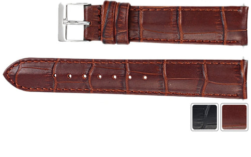 Watch Strap - Alligator Watch Strap In Embossed Leather