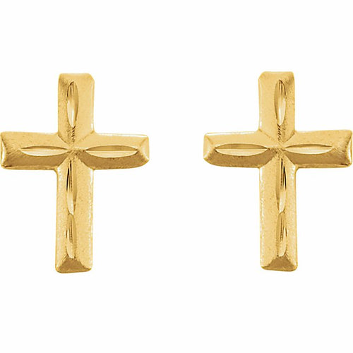 Gold Stud Earrings - Cross Earrings With Safety Closure