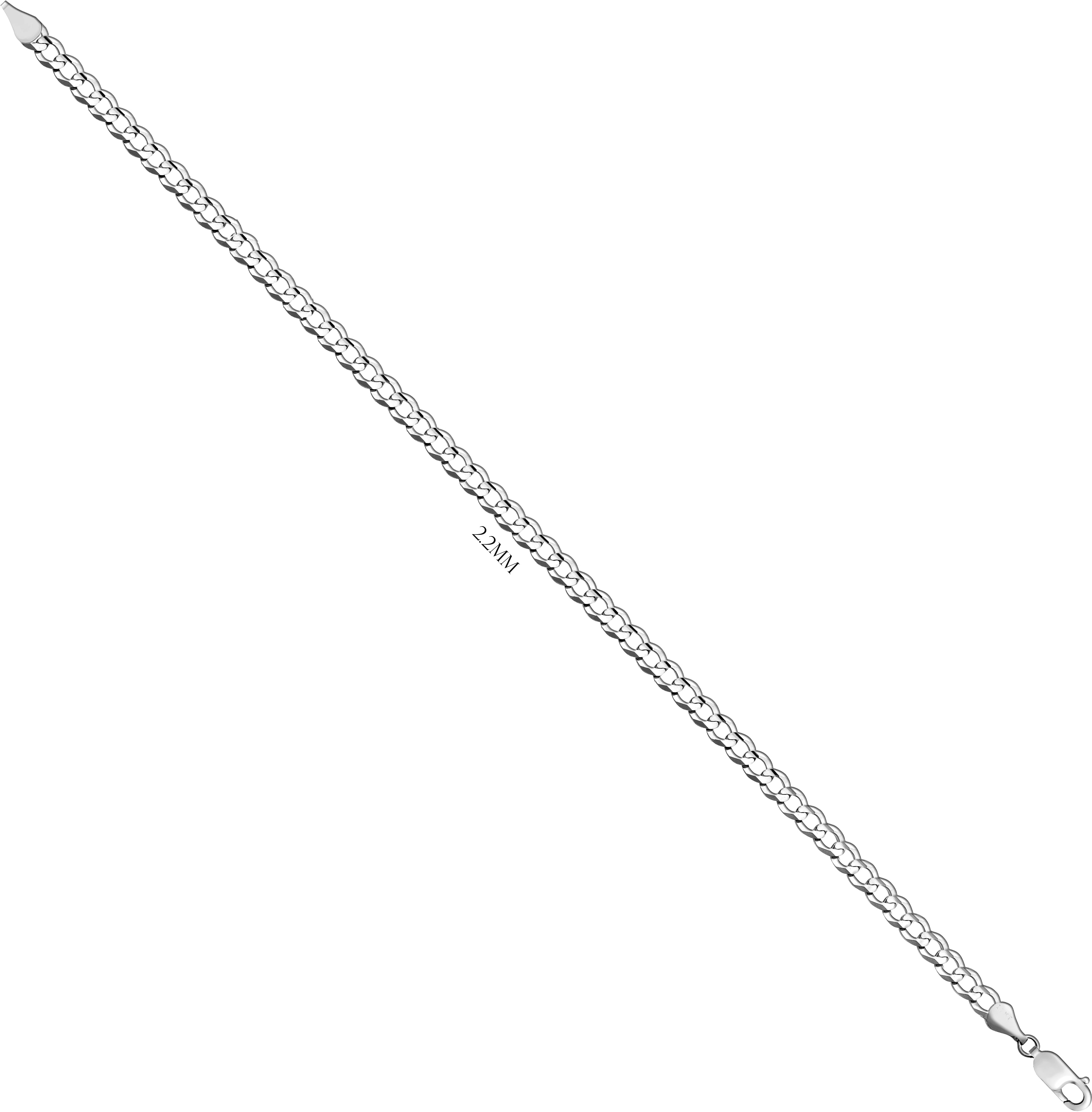 Curb Chain Of Solid Sterling Silver - 2.2MM Long
