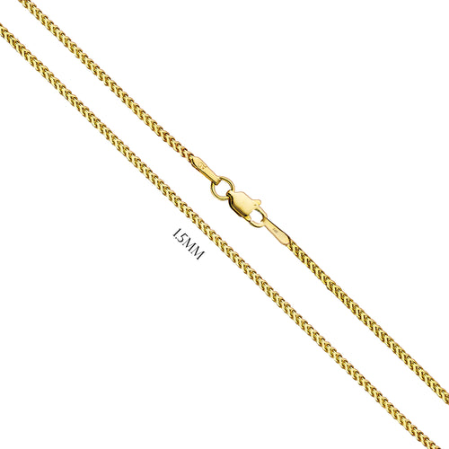 Franco Chain In Solid 14K Yellow Gold - 1.5MM
