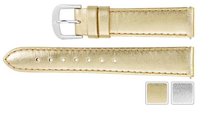 Watch Band - Metallic Watch Band In Calf Leather