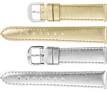 Watch Band In Metallic Calf Leather - Gold & Silver