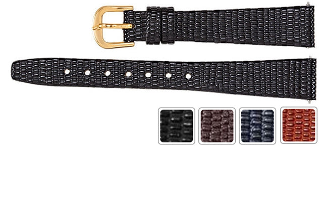 Watch Band - Leather Watch Strap Lizard Grain Flat Band
