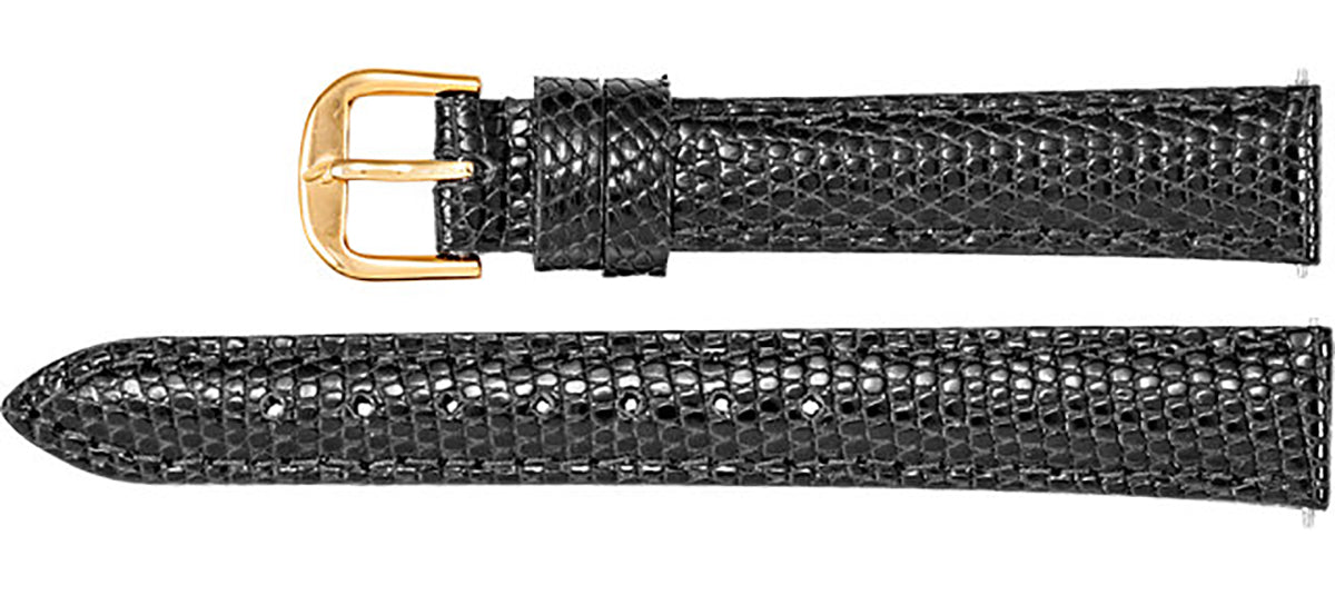 Watch Band In Genuine Lizard Leather - Black Color