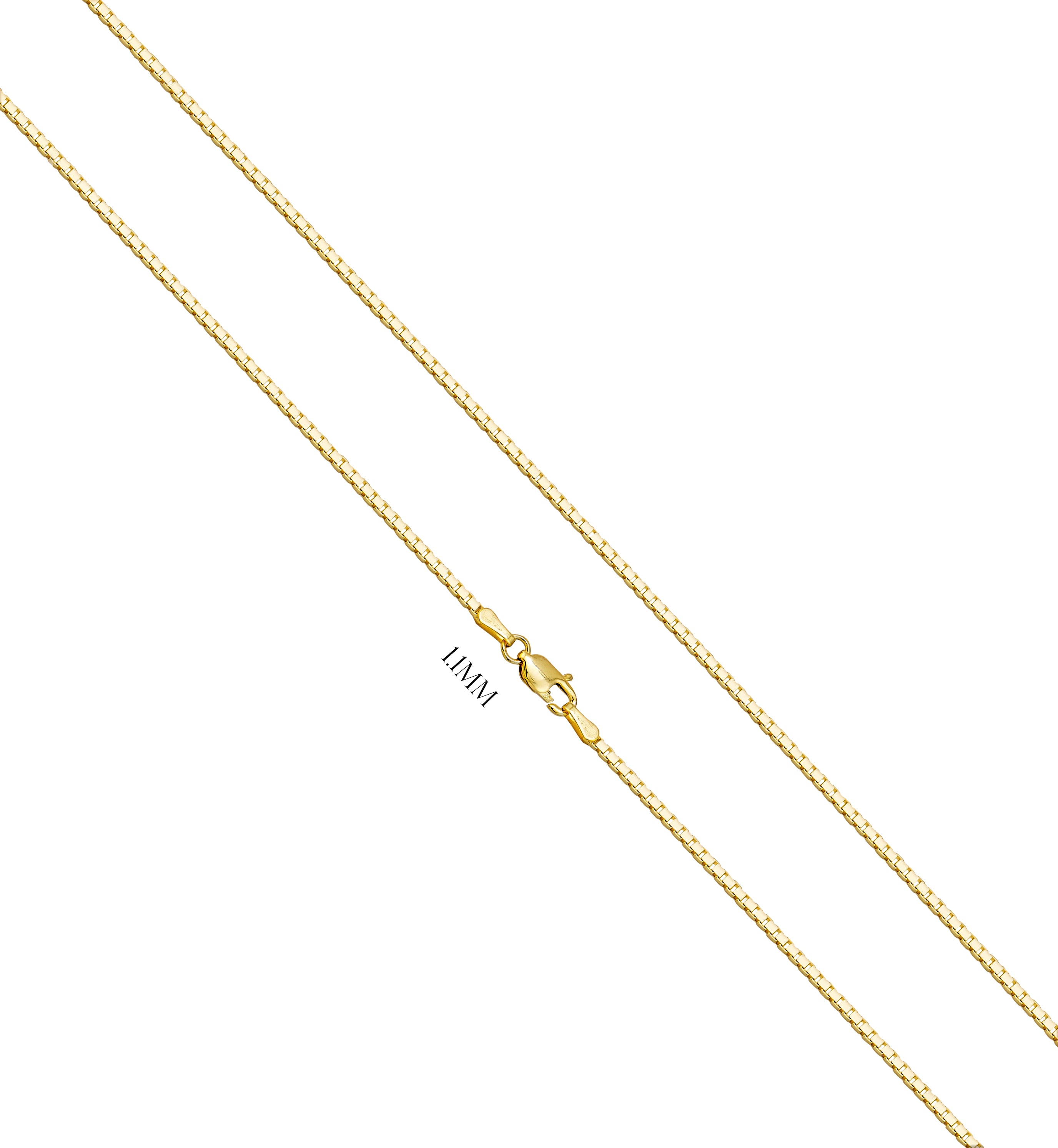 Box Chain With Lobster Claw Clasp - 1.1MM