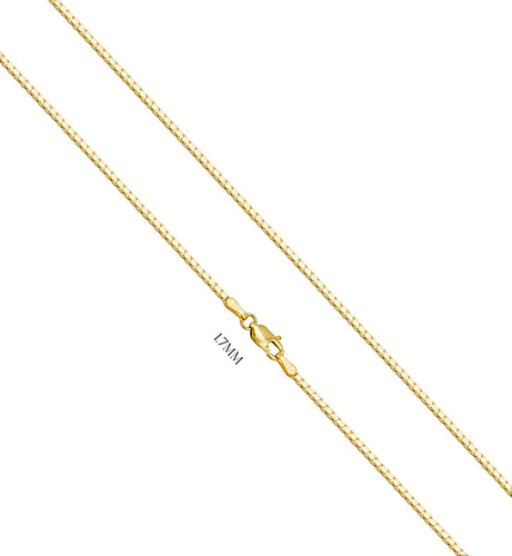 Box Chain With Lobster Claw Clasp - 1.7MM