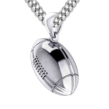 Extra Large 925 Sterling Silver 3D Football Pendant Necklace, 29mm