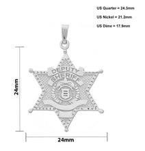 Police Necklace Of Silver In Deputy Sheriff - Size Details