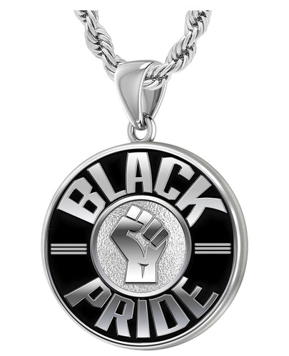 Men's 925 Sterling Silver Black Pride Medal Pendant Necklace, 33mm