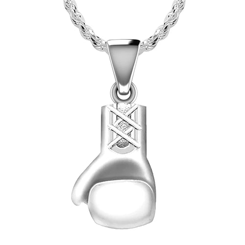 Sports Necklace - Silver Necklace In Boxing Gloves Design
