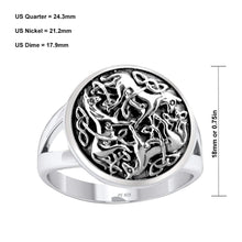 Men's 0.925 Sterling Silver Irish Celtic Triniy Endless Love Knot Horse Ring