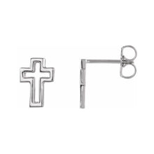 Cross Stud Earrings In Open Cross Style - Side View