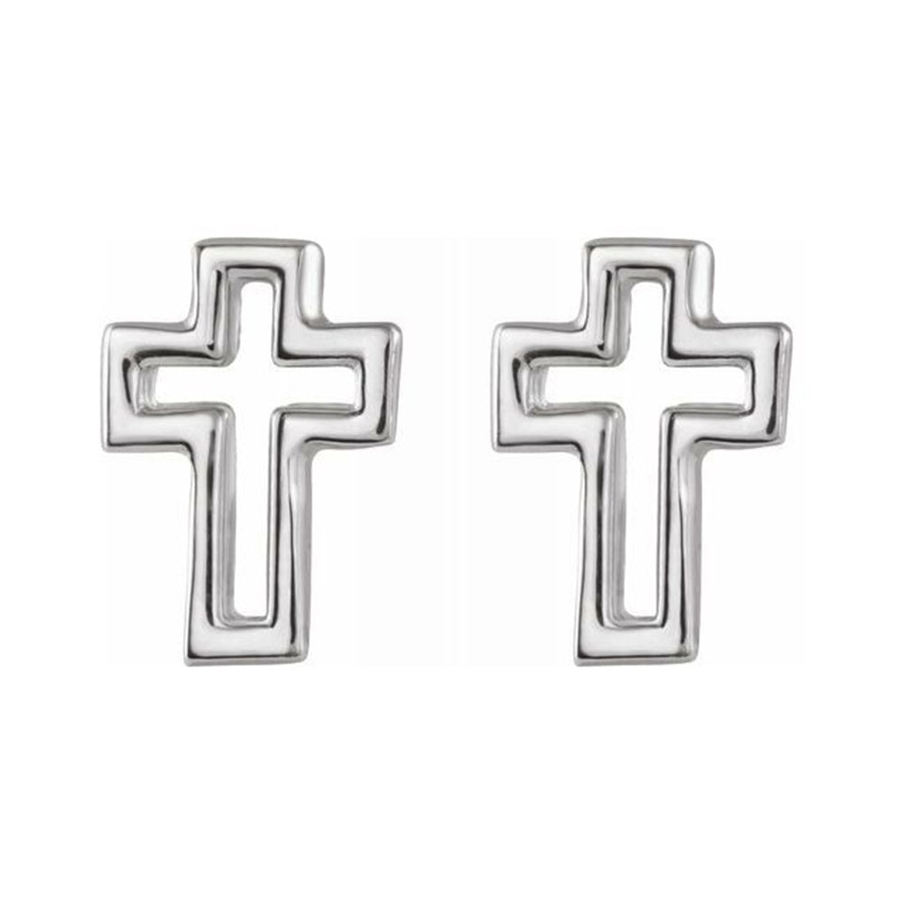 Cross Stud Earrings - Sterling Silver Earrings Open Style