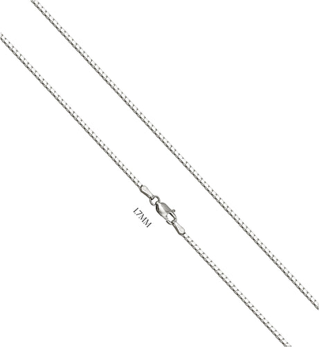 Box Chain Of Solid 14k White Gold - 1.7MM