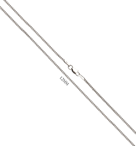 Franco Chain In Solid 14K White Gold - 1.2MM