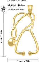 Stethoscope Necklace In 14k Yellow Gold - Size Details
