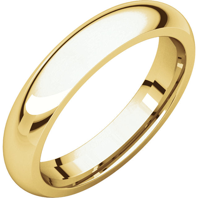 Groom Wedding Band - Gold Ring In Half Round Design