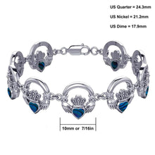 0.925 Sterling Silver Simulated Inlay Irish Claddagh Link Bracelet