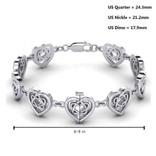 0.925 Sterling Silver Celtic Knotwork And Hearts Link Bracelet