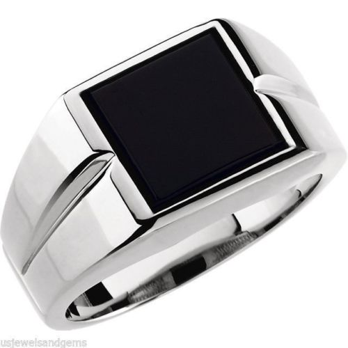 Square Black Onyx Stone Ring for Men