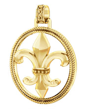 Fleur De Lis Necklace Of Gold In Braided Design - No Chain