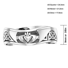 Mens '0.925 Sterling Silver Modern Irish Celtic Claddagh & Knot Ring Band