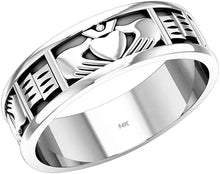 White Gold Irish Claddagh Wedding Ring Band For Her