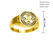 Men's 10k or 14k Yellow Gold Irish Celtic Cross Ring
