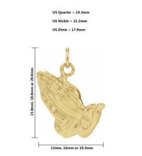 Gold Praying Hands Pendant For Women - Size Details
