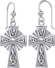 10K or 14K Yellow or White Gold Irish Celtic Knot Cross Earrings