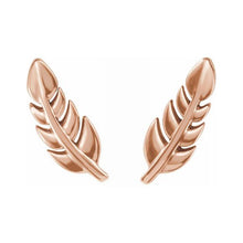 Gold Stud Earrings In Leaf Design - Rose Gold