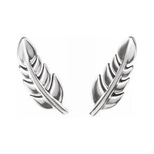 Gold Stud Earrings In Leaf Design - White Gold