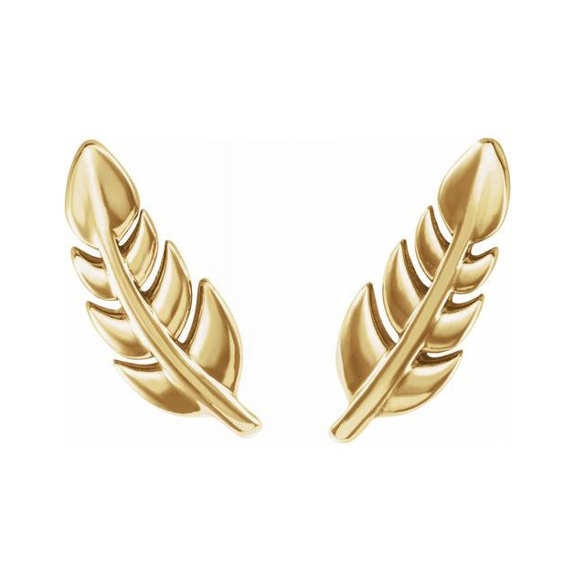 Gold Stud Earrings - Leaf Earrings With 14K Purity