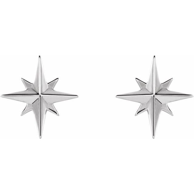 Sterling Silver Stud Earrings - Star Stud Earrings Pair