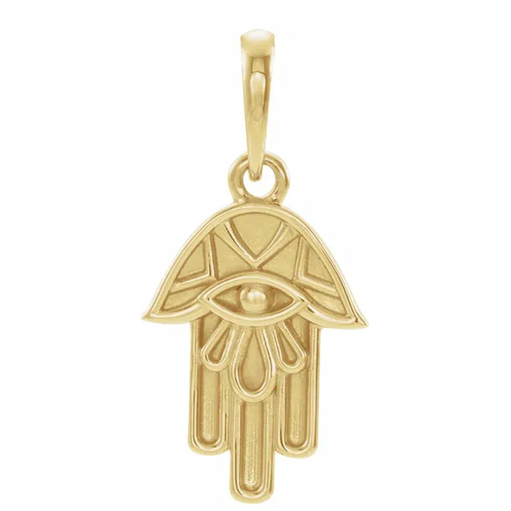 Hamsa Pendant In 14K Yellow Gold For Ladies - Front View