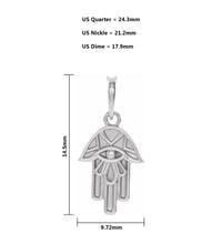 Hamsa Pendant In Sterling Silver For Women - Size Details