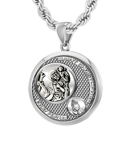 Men's 925 Sterling Silver Round Saint Christopher Round Polished Finish Pendant Necklace, 25mm
