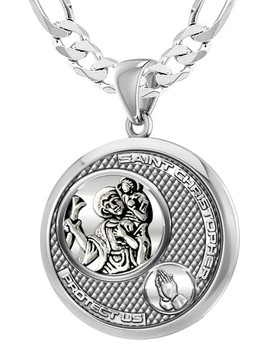 Men's 925 Sterling Silver Round Saint Christopher Round Polished Finish Pendant Necklace, 33mm