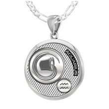 Aquarius Necklace In Silver - 1.8mm Figaro Chain