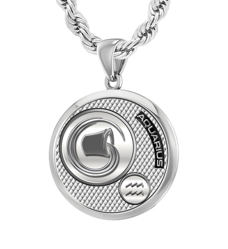 Men's 925 Sterling Silver Round Aquarius Zodiac Polished Finish Pendant Necklace, 25mm