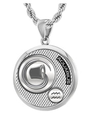 Aquarius Necklace In Round For Men - 3mm Rope Chain