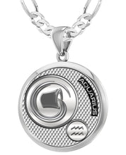 Aquarius Necklace In Round For Men - 4mm Figaro Chain