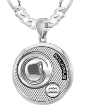 Aquarius Necklace In Round For Men - 6mm Figaro Chain