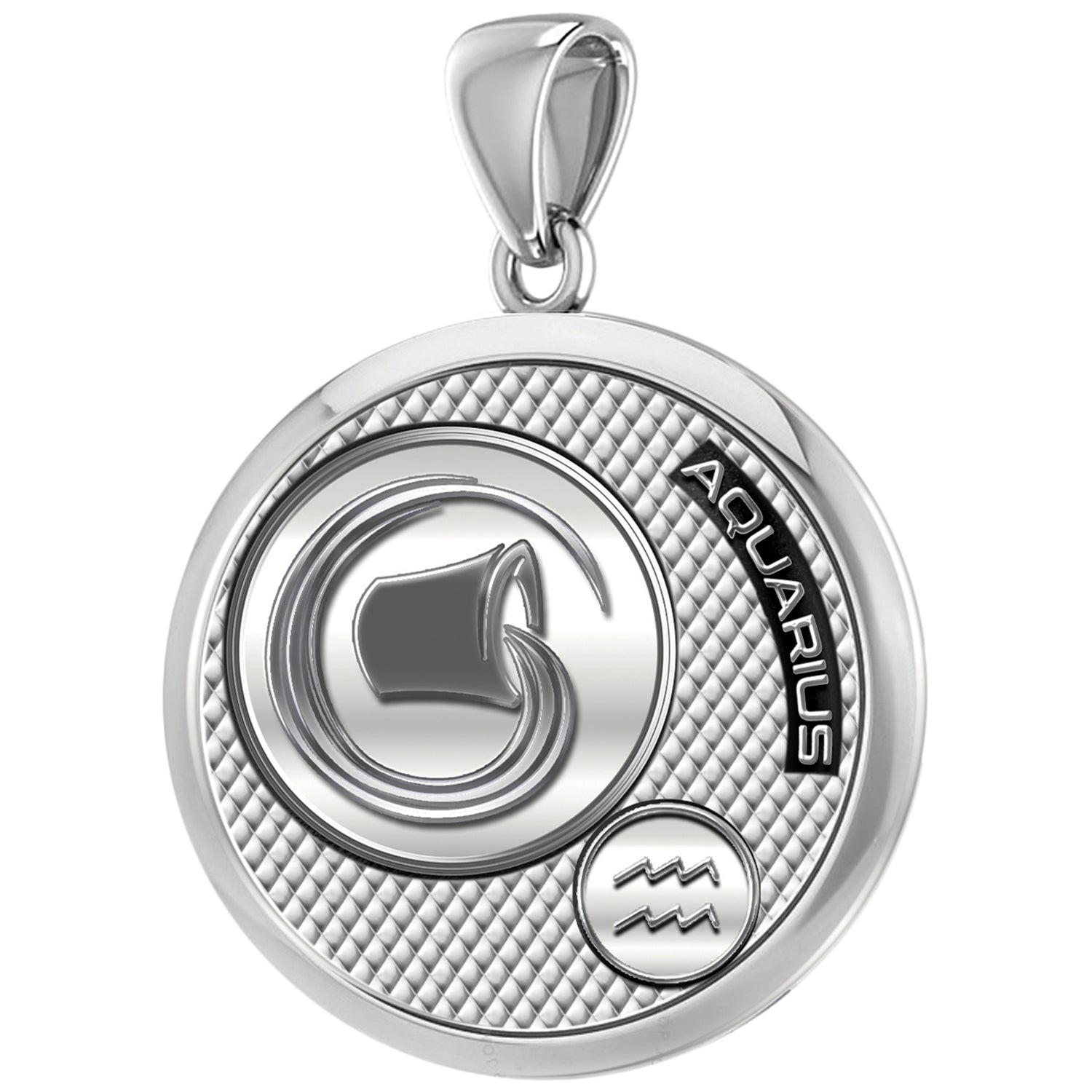 Aquarius Necklace In Round For Men - Pendant Only