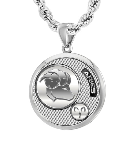 Men's 925 Sterling Silver Round Aries Zodiac Polished Finish Pendant Necklace, 25mm