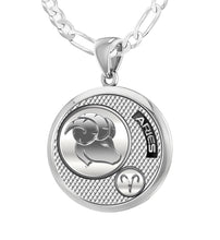 Aries Necklace In 925 Silver - 2.3mm Figaro Chain
