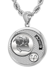 Aries Necklace In Round Shape - 4.4mm Rope Chain